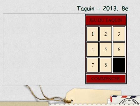 Taquin - A 2013, 8e